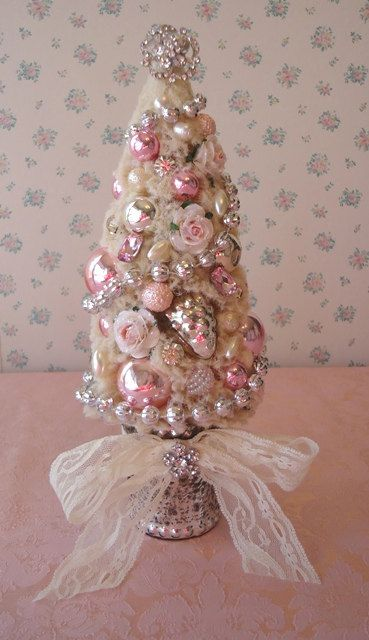 Shabby Bottle Brush Christmas Tree in Mercury by IllusiveSwan