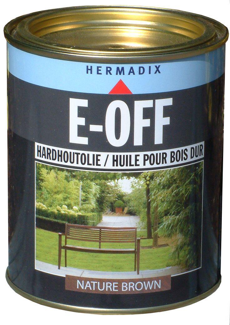 E-OFF hardhoutolie is vergrijbaar in Nature brown, white wash en dark graphite. E-OFF hardhoutolie is speciaal ontwikkeld voor alle donkere hardhouten objecten.