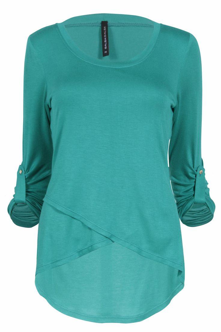 Blusa turquesa cruzada por el frente   #mayo #moda #salsa #tendencia