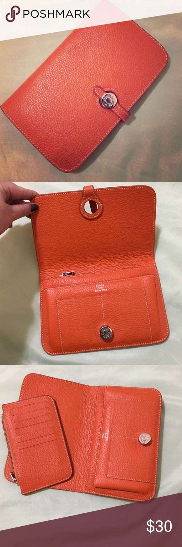 Hermes wallet Orange leather Hermes wallet with removable coin purse! Fabulous condition. Hermes Bags Wallets