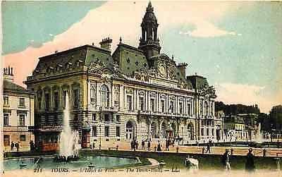 Tours Indre et Loire France 1906 Hotel de Ville Town Antique Vintage Postcard