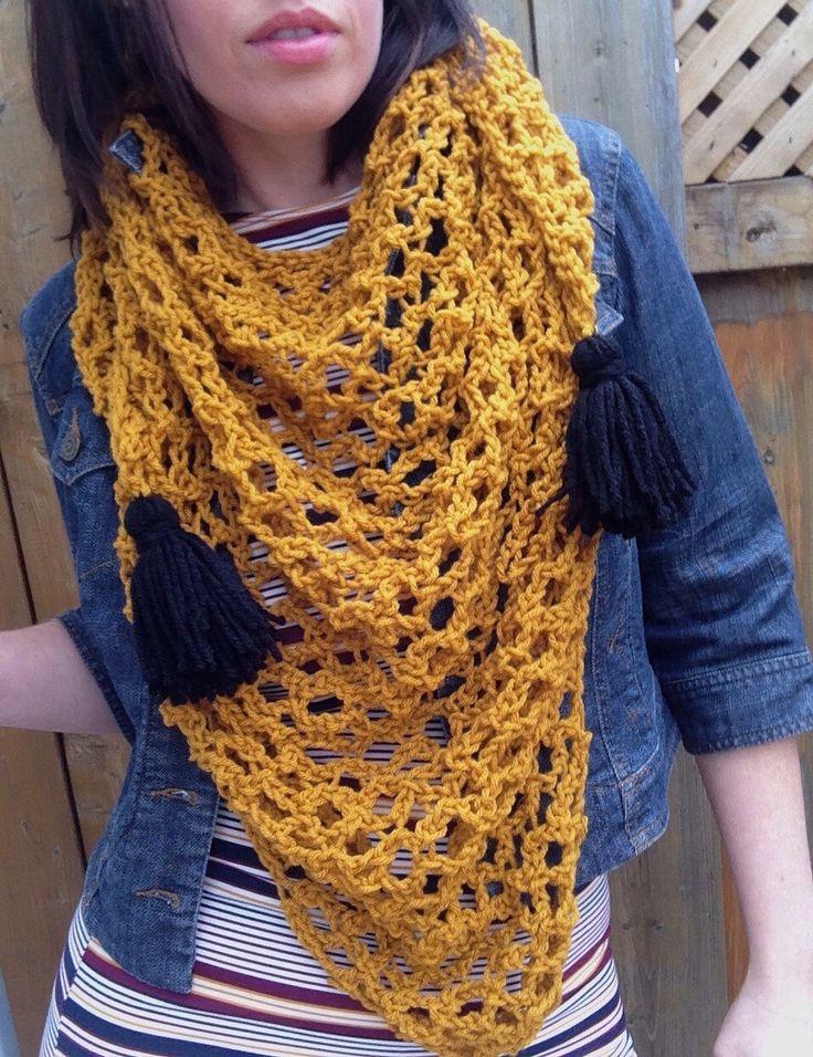 Gold Triangle scarf with tassels.   https://www.etsy.com/ca/listing/503749669/triangle-scarf-bandana-scarf-triangle