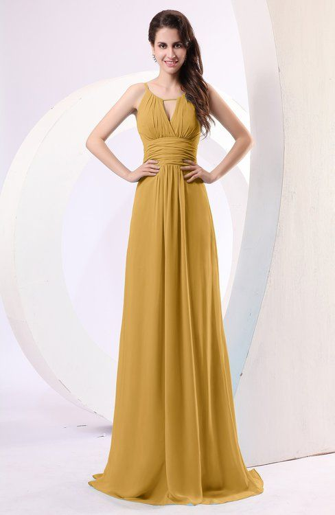 Simple Column Scoop Chiffon Ruching Bridesmaid Dresses
