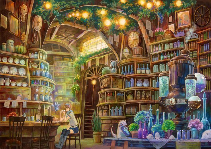 artwork by Sayaka Ouhito.  Swap the bottles for books and this would be my ideal business!
