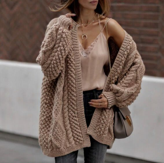 21 Fall Outfits To Copy This Season: Beige chunky cardigan, nude lace cami, hal…