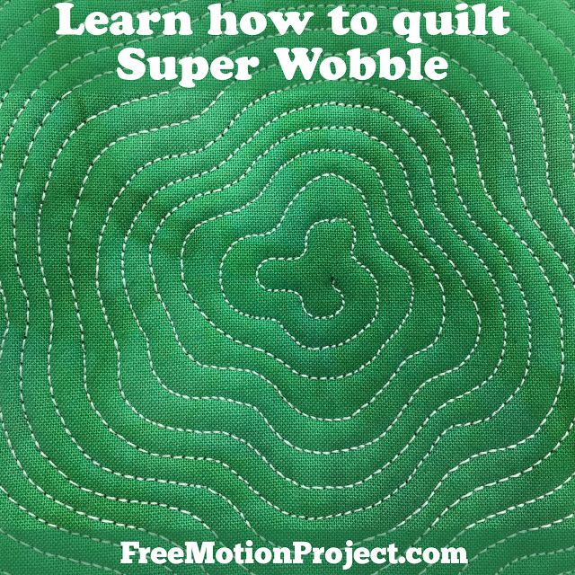 Learn how to machine quilt Super Wobble! Find a free video tutorial with tips on quilting this design on your home machine. Find the video here: https://freemotionquilting.blogspot.com/2017/08/learn-how-to-quilt-super-wobble-design.html