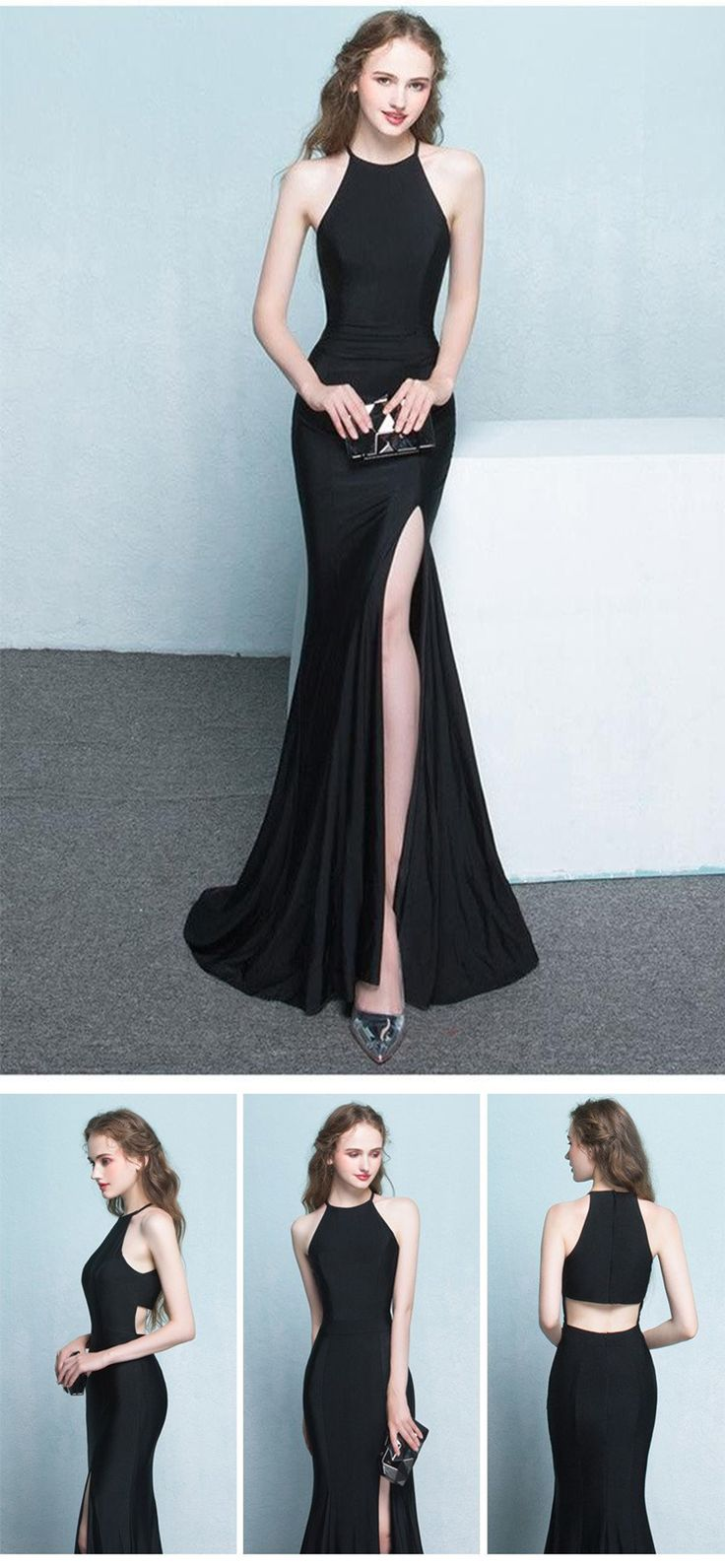 Charming Simple Style Long Sheath Sexy Cheap Black Prom Dresses