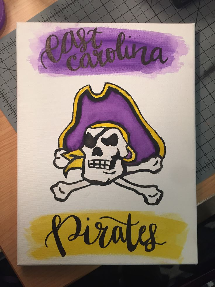 ECU Watercolor Pirate Logo and Lettering