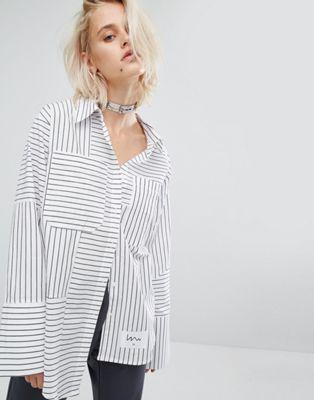 Полосатая рубашка со ступенчатым краем KKXX