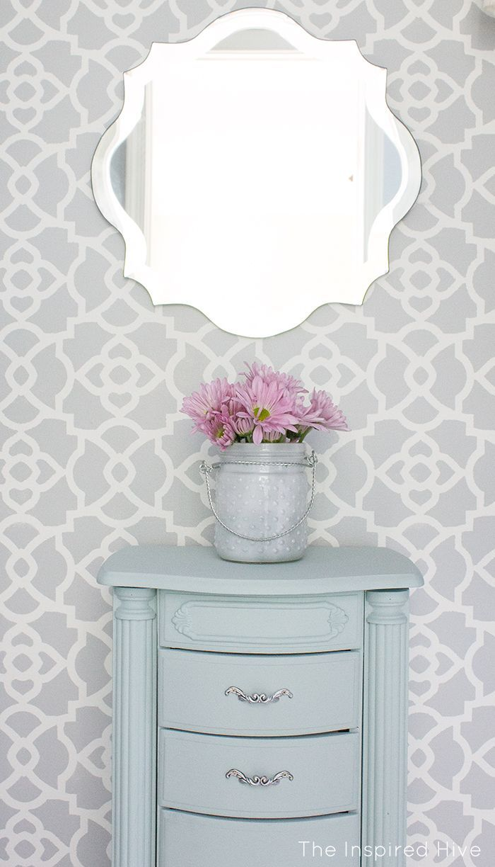 Stenciled master bedroom closet makeover. Love this painted jewelry armoire!
