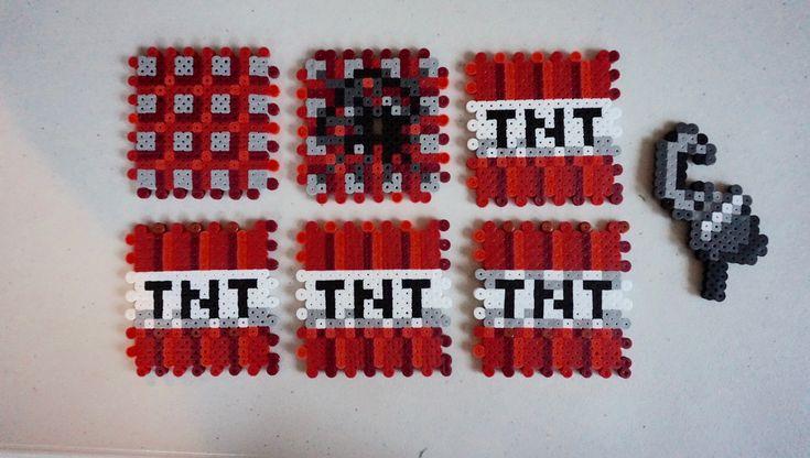 Minecraft TNT block pattern, Minecraft TNT perler beads, Minecraft birthday party decorations, Minecraft perler