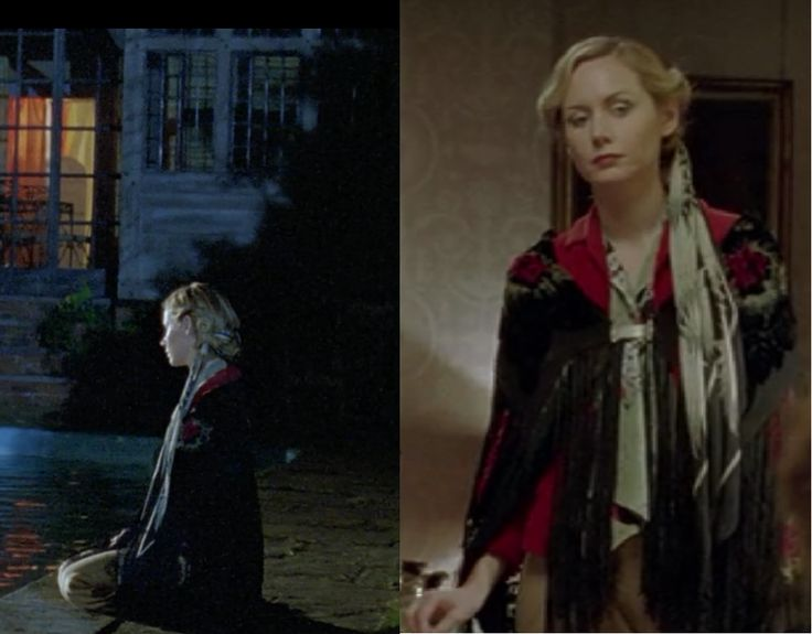 Megan Dodds as Henrietta on Poirot - The Hollow Scarf woven into her hair, velvet wrap, tailored pants and a red coat