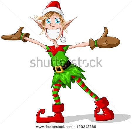 A vector illustration of a Christmas elf spreading his arms and smiling. - stock vector