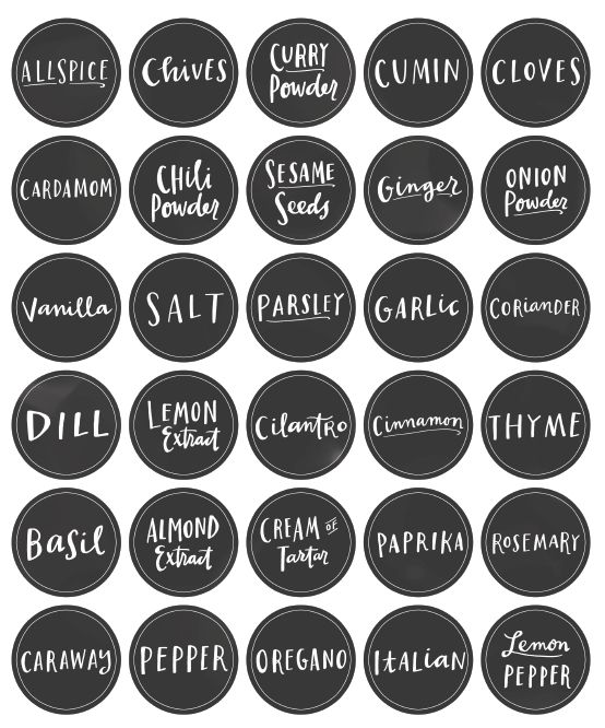 Free Printable Spice Jar Labels