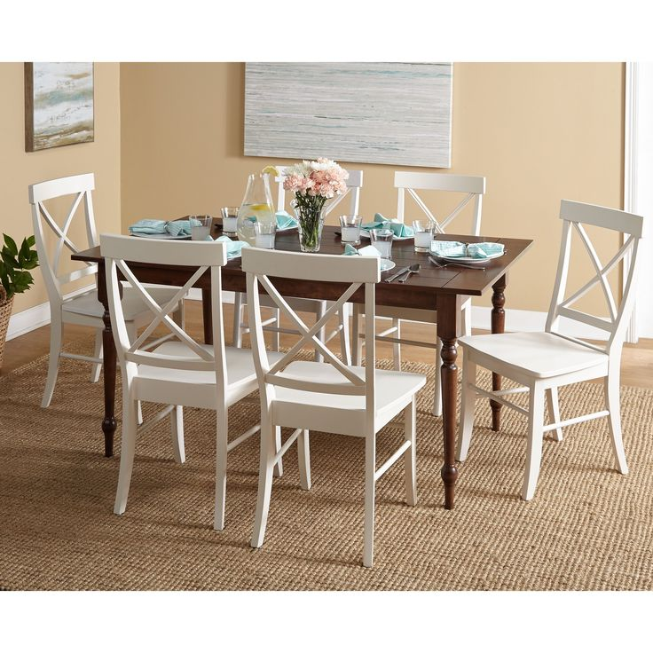 Simple Living Denver Walnut Table Chairs Dining Set