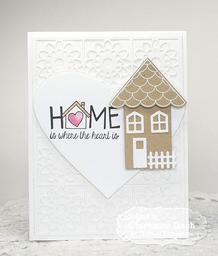 Welcome Home set from Taylored Expressions, along with the coordinating die, Build a House.  The TE Floral Cutting Plate was diecut in white & adhered to a white card base.