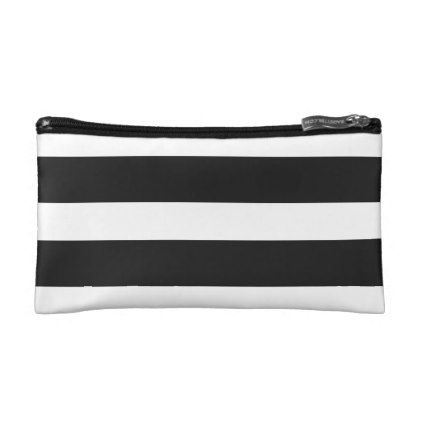 Modern Black Stripes Loved   Small Cosmetic Bag - black and white gifts unique special b&w style