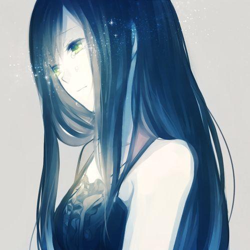 anime girl blue hair g...