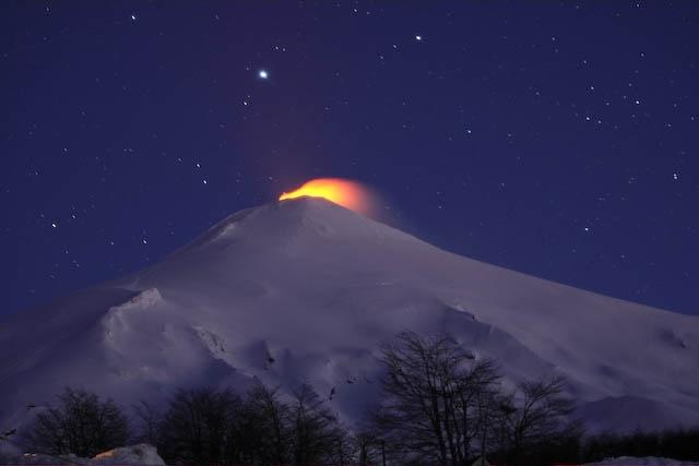 Skiing Villarica, active Volcano in Pucon, Chile