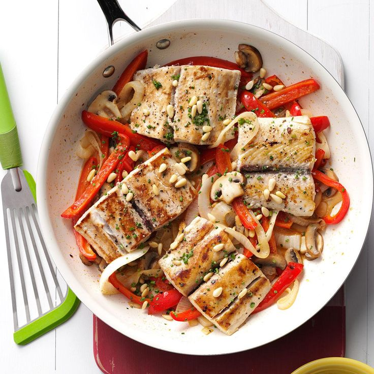 Mahi Mahi & Veggie Skillet Recipe -Cooking mahi mahi with a mix of vegetables may seem complex, but I developed a skillet recipe to bring out the wow factor without the hassle and fuss. —Solomon Wang, Arlington, Texas
