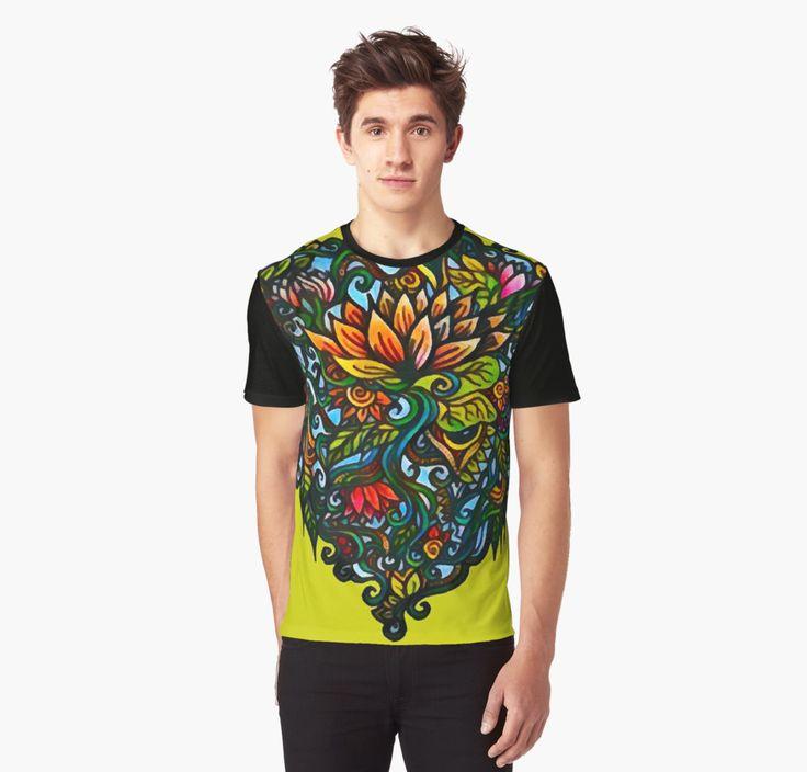 Lotus Power Summer  Graphic Men's T-shirt   Floral Men's fashion #Redbubble #patterndesign #fashion #menswear #streetwear #flowers
