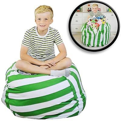Kids Storage Bean Bag Cover Stuffed Animal Green/white Stripe Chair Seat 38in