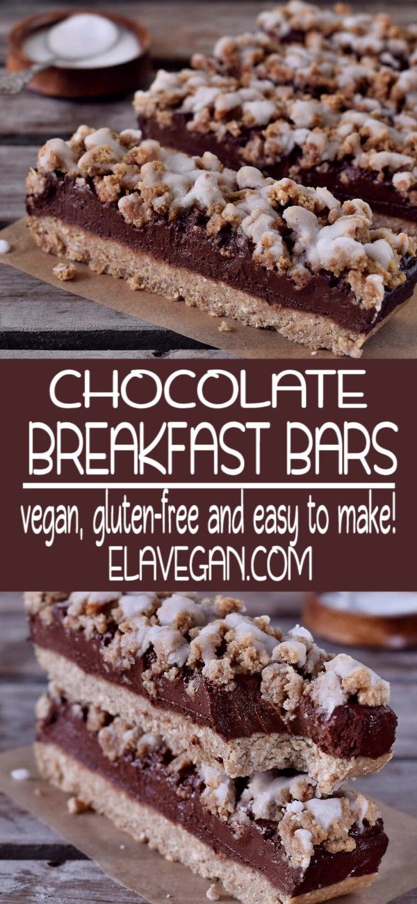 Oat Breakfast Bars With Chocolate Chocolate Breakfast Breakfast Bars Vegan Dessert Recipes