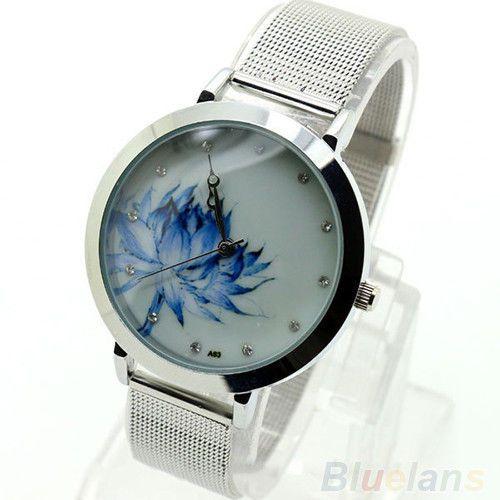 Womens-Fashion-Rhinestone-Blue-Lotus-Stainless-Steel-Mesh-Quartz-Wristwatch-B84U