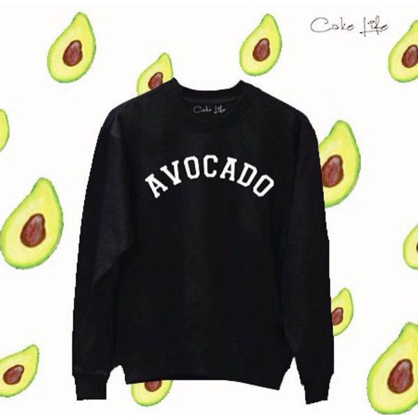 Avocado by Cake Life Sweater Fun Tumblr Hipster Swag Fashion Grunge... ($33) ❤ liked on Polyvore featuring tops, black, women's clothing, crew neck top, hipster tops and grunge tops