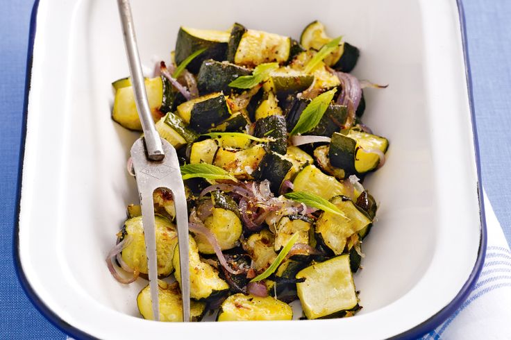 Roast zucchini is a delicious accompaniment to grilled chicken or fish.  This looks good!