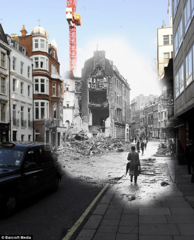 A photographer took bombing pics of WWII and merged them with modern-day Britain. This is impressive.