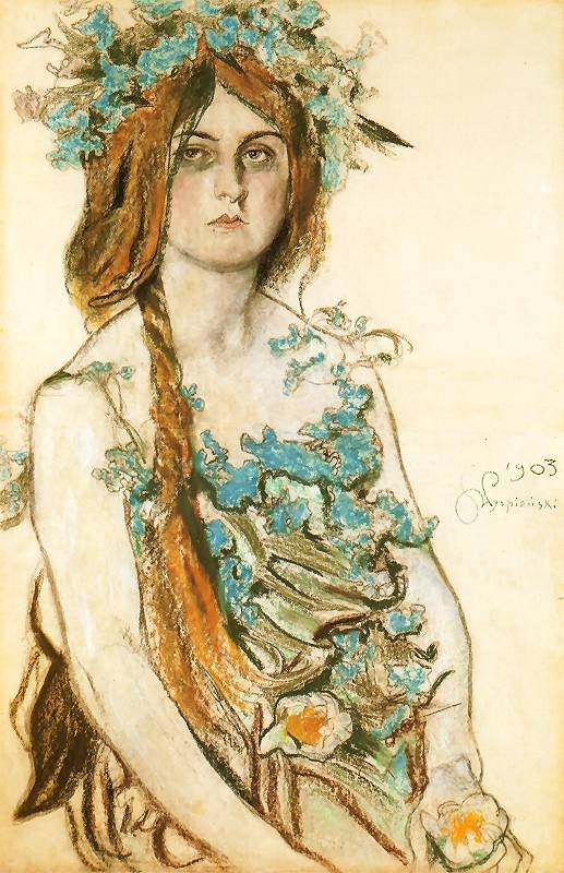 """Stanisław Wyspiański, Portret Władysławy Ordon-Sosnowskiej w roli Krasawicy w dramacie """"Bolesław Śmiały"""" (1903)"""