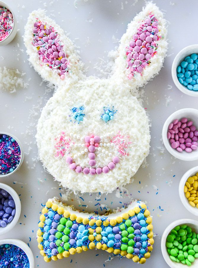 coconut confetti classic bunny cake with M&M'S I howsweeteats.com
