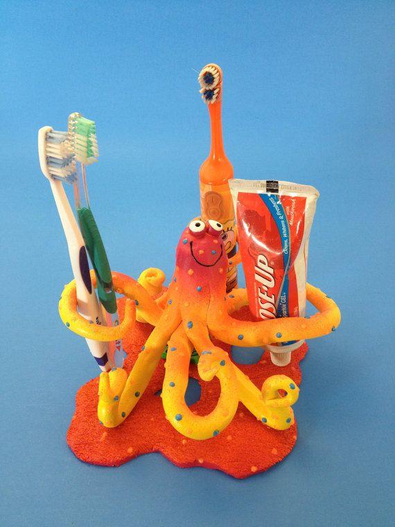 Octopus Kids Toothbrush Holder Ocean Aquarium by PondScumCeramics
