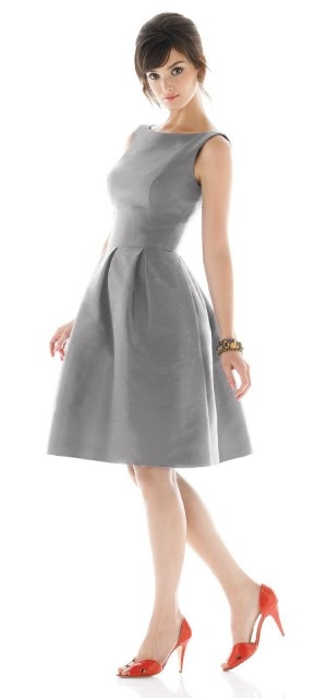 Boat neck, pleated skirt. Alfred Sung Bridesmaids Dress Style D448 $164.00