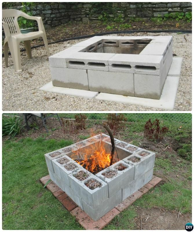 Diy Cinder Block Garden Projects Instructions And Outdoor Fire Pit Backyard