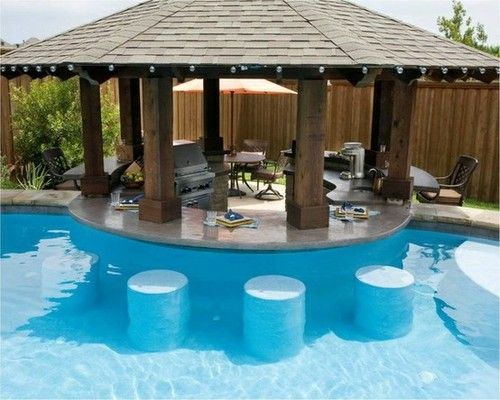 Swimming Pool, Fascinating Backyard Pool And Swim Up Bar Inspiration Design Ideas With Surrounding Landscape Design Features: Outstanding Swimming Pool Designs With Swim Up Bar Inspiration For Your Home Ideas