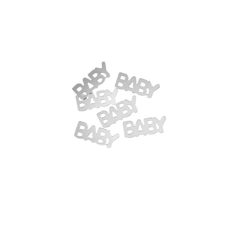 Konfetti Sølv tekst Baby 20 mm