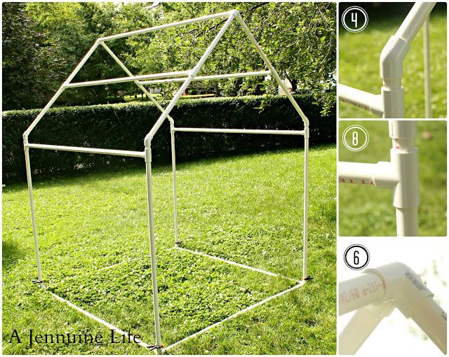 Originally pinned as a PVC Playhouse,  I think this would make an awesome and fairly inexpensive greenhouse!  Clear plastic to cover walls and roof!