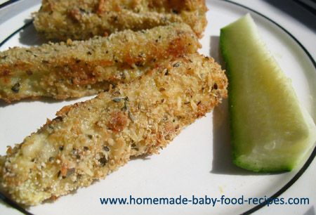 zucchini-fries. -I made these yesterday. They were a hit! And the zucchini surprisingly stayed intact. It was not mushy at all. I would recommend adding more spices of your liking.