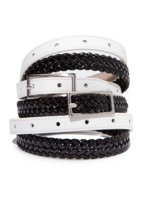 New Directions Women's Black And White Belt Set - Multi - S/M