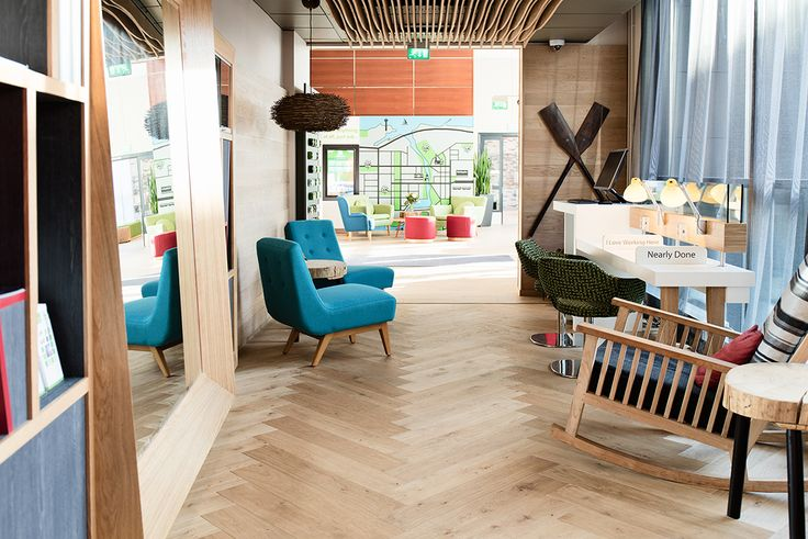 Timberwise Oak Herringbone brushed wax oiled floor in Hotel Holiday Inn Tampere Central Station.