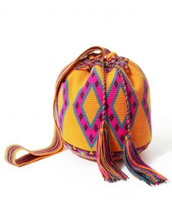 Large Orange Wayuu Mochila Bag