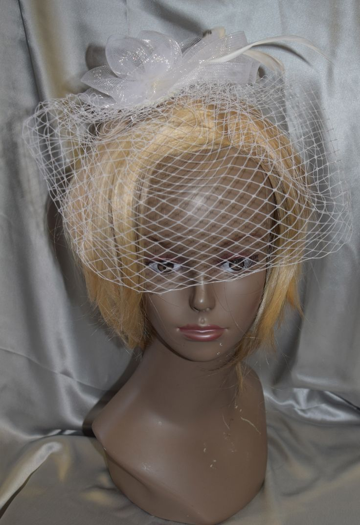 Fancy Fascinator White Bridal with Bird Cage