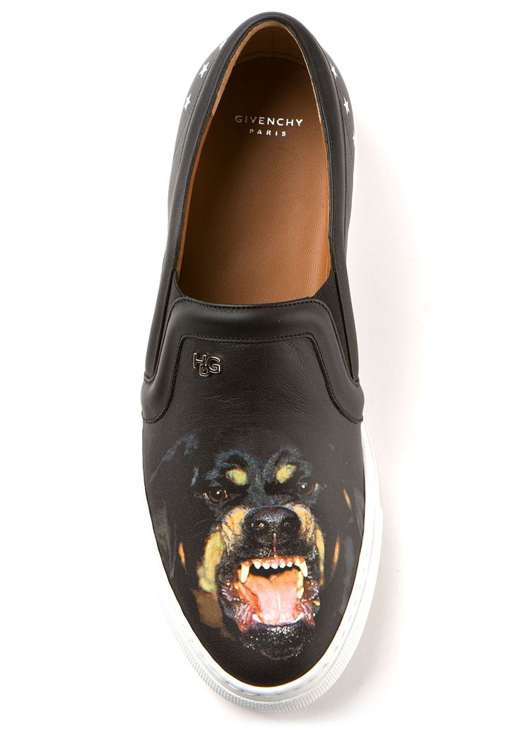 Givenchy Sneakers :: Givenchy black Rottweiler leather sneakers | Montaigne Market