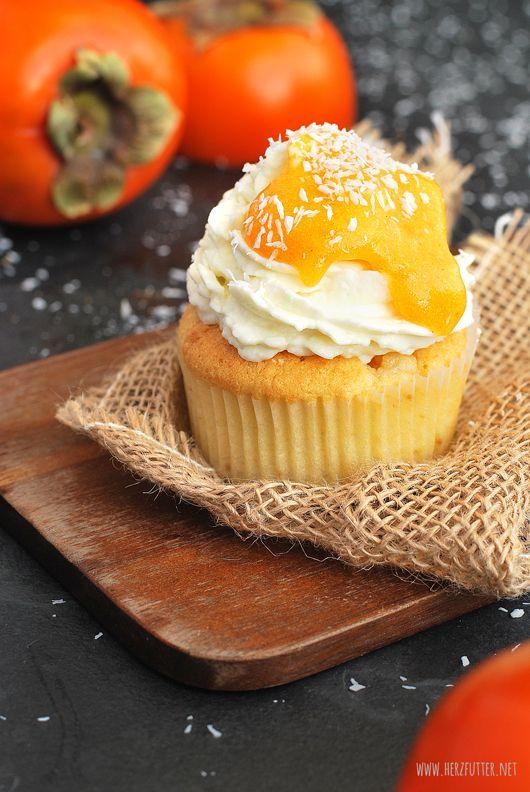 Herzfutter | Food-Blog : Kokos-Cupcakes mit Kakis – so schmeckt die Sonne!