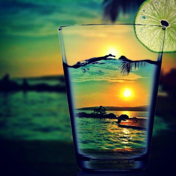 Summer refreshment cocktail drink sunset