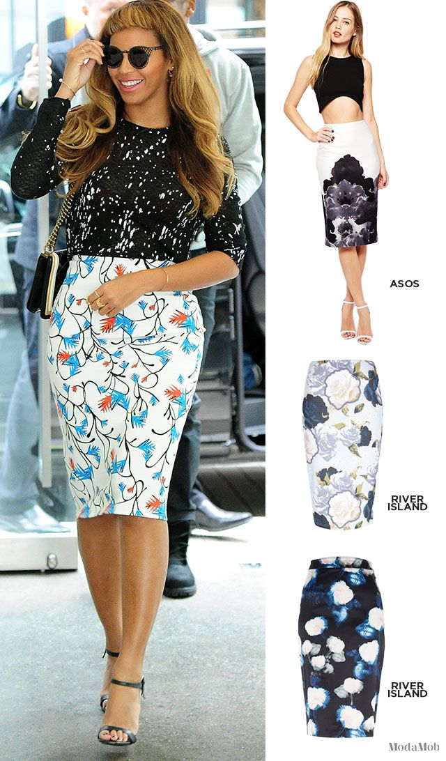 Inspired by Beyonce: floral printed pencil skirts #stylecrush #queenbey #springtime