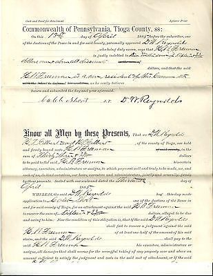 ANTIQUE COURT DOCUMENT JUSTICE OF THE PEACE TIOGA COUNTY PA OWED DEPT C 1885