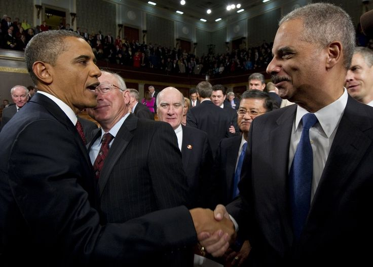 President Barack Obama and Attorney General Eric Holder -: President Obama Addresses The Nation During State Of The Union Address.  History Speaks